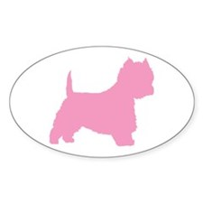Pink Westie Dog Oval Decal