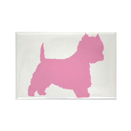 Pink Westie Dog Rectangle Magnet (10 pack)