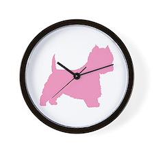 Pink Westie Dog Wall Clock
