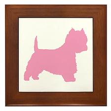 Pink Westie Dog Framed Tile