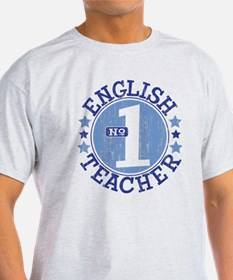 #1 ENGLISH TEACHER (Blue) T-Shirt
