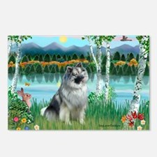 Birches/Keeshond Postcards (Package of 8)
