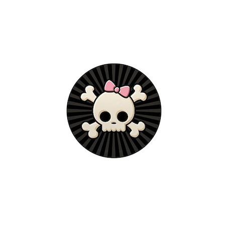 Cute Skull Girl Mini Button