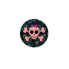 Funny Pink Skull Mini Button (100 pack)