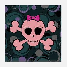 Funny Pink Skull Tile Coaster
