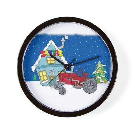 Santa's Red Tractor Wall Clock