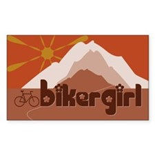 BikerGirl Sunset Sky (Bicycle) Rectangle Decal