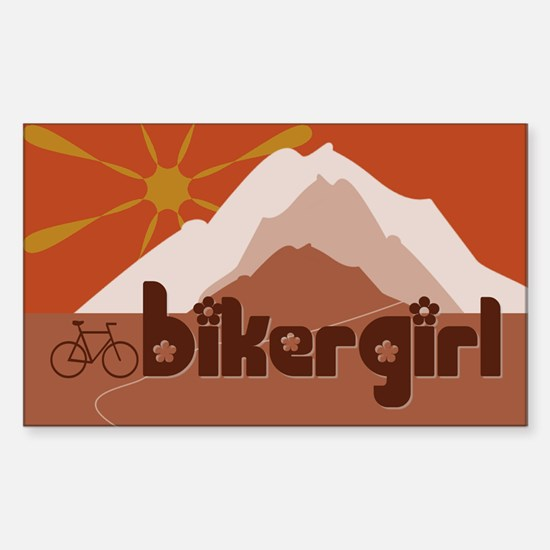 BikerGirl Sunset Sky (Bicycle) Rectangle Decal