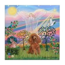 Cloud Angel and a brown miniature Poodle #10 Tile