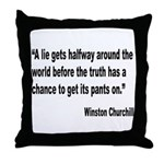 Churchill Lies Truth Quote Throw Pillow