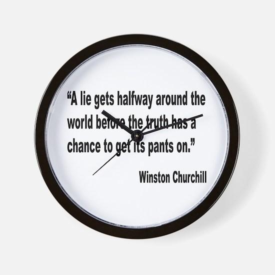 Churchill Lies Truth Quote Wall Clock