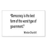 Churchill Democracy Quote Rectangle Sticker 10 pk