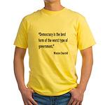 Churchill Democracy Quote Yellow T-Shirt