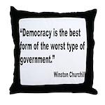 Churchill Democracy Quote Throw Pillow