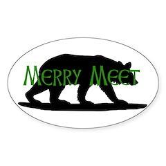 Merry Meet Spirit Bear Oval Sticker (10 pk)