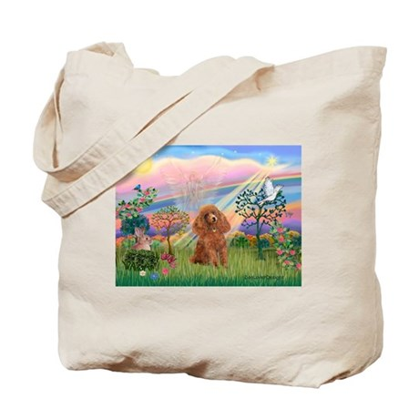 Cloud Angel and a brown miniature Poodle #10 Tote