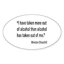 Churchill Alcohol Quote Oval Sticker (10 pk)