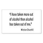 Churchill Alcohol Quote Rectangle Sticker
