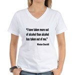 Churchill Alcohol Quote (Front) Women's V-Neck T-S