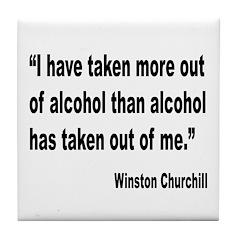Churchill Alcohol Quote Tile Coaster