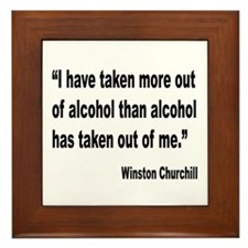 Churchill Alcohol Quote Framed Tile