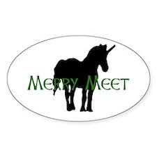 Merry Meet Spirit Unicorn Oval Decal