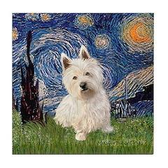Starry Night/Westie Tile Coaster