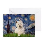 Starry Night/Westie Greeting Card
