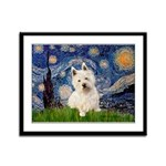 Starry Night/Westie Framed Panel Print