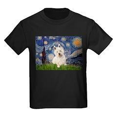 Starry Night/Westie Kids Dark T-Shirt