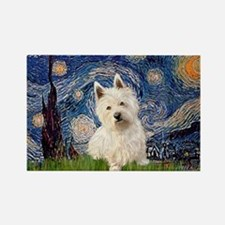 Starry Night/Westie Rectangle Magnet