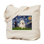 Starry Night/Westie Tote Bag