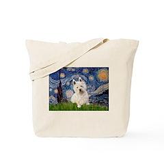Starry Night/Westie Tote Bag
