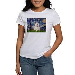 Starry Night/Westie Women's T-Shirt