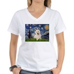 Starry Night/Westie Women's V-Neck T-Shirt