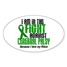 In The Fight Against CP 1 (Niece) Oval Decal