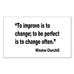 Churchill Perfect Change Quote Rectangle Sticker