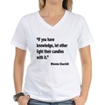 Churchill Knowledge Quote (Front) Women's V-Neck T