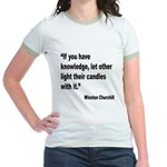 Churchill Knowledge Quote Jr. Ringer T-Shirt
