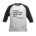 Churchill Knowledge Quote Kids Baseball Jersey
