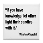 Churchill Knowledge Quote Tile Coaster
