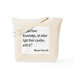 Churchill Knowledge Quote Tote Bag