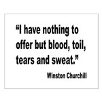 Churchill Blood Sweat Tears Quote Small Poster
