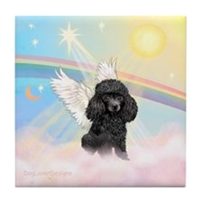 Angel /Poodle (blk Toy/Min) Tile Coaster
