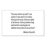Churchill Victory Quote Rectangle Sticker 10 pk)