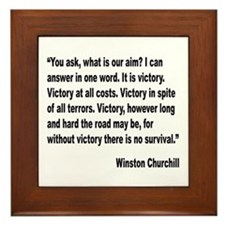 Churchill Victory Quote Framed Tile