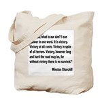Churchill Victory Quote Tote Bag