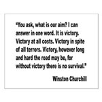 Churchill Victory Quote Small Poster