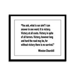Churchill Victory Quote Framed Panel Print