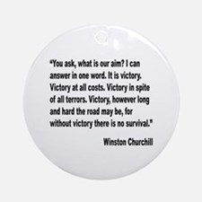 Churchill Victory Quote Ornament (Round)